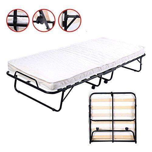 Folding Bed Foam Mattress Twin Roll Away Guest Portable Sleeper Pull Out Folding Guest Bed Foam Mattress Bed Folding Beds