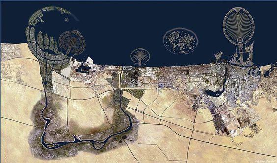 Curiosa fotografia aérea da cidade do Dubai (que é um emirado de mesmo nome dos Emirados Árabes Unidos), capturada via Google Mapas. Tanto os serviços Google Mapas e Google Earth tem usado o satélite Landsat 8, da NASA, que proporciona imagens ainda mais nítidas.