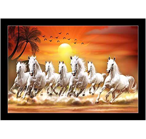 Vastu Poster Graphics Machine Manufacturer White 7 Horse Https Www Amazon In Dp B078wsb27k Ref C Seven Horses Painting Horse Wallpaper Painting Wallpaper