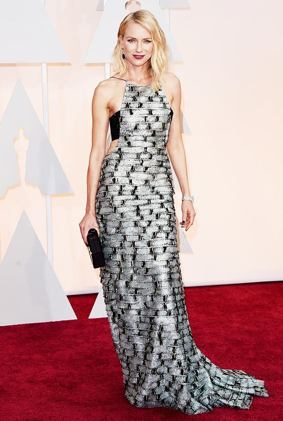 Naomi Watts is STUNNING in this metallic, low-cut side/ halter Armani Prive gown at the 2015 Oscars