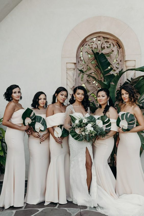 Chic Neutral Bridesmaid Gowns And Tropical Bouquets Weddings Wedding Ceremony Wedding P Garden Chic Wedding White Bridesmaid Dresses Wedding Bridesmaids