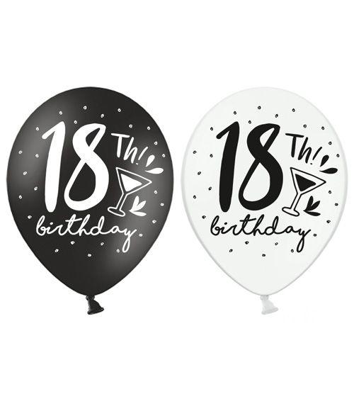 Luftballon Set 18th Birthday Schwarz Weiss 6 Stuck