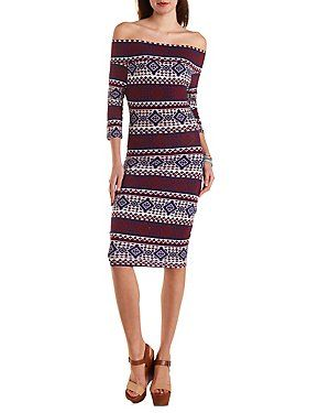 Off-the-Shoulder Tribal Bodycon Dress