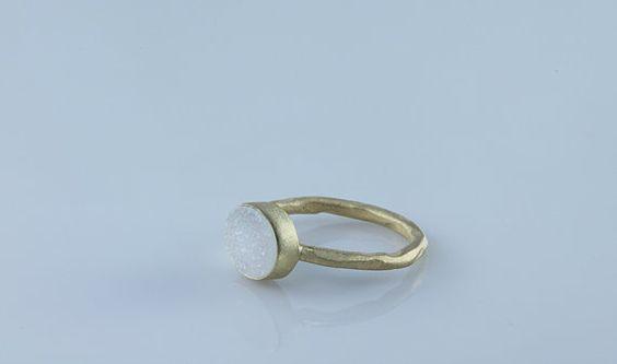 Natural Raw White Druzy Bezel Ring Raw Gemstone Ring by Geminmind, $59.00