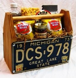 What better way to showcase these Detroit-made items than in a Michigan license plate crate!