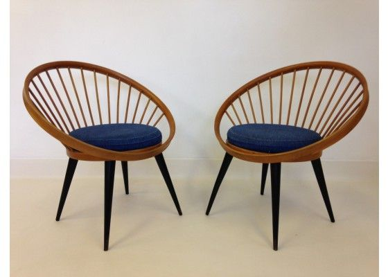 LOUNGE AREA | Circle Chairs by Yngve Ekstrom, 1950s, Set of 2