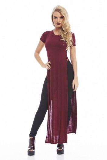 Long Plain Split Side T-Shirt dress  summer outfits  Pinterest ...