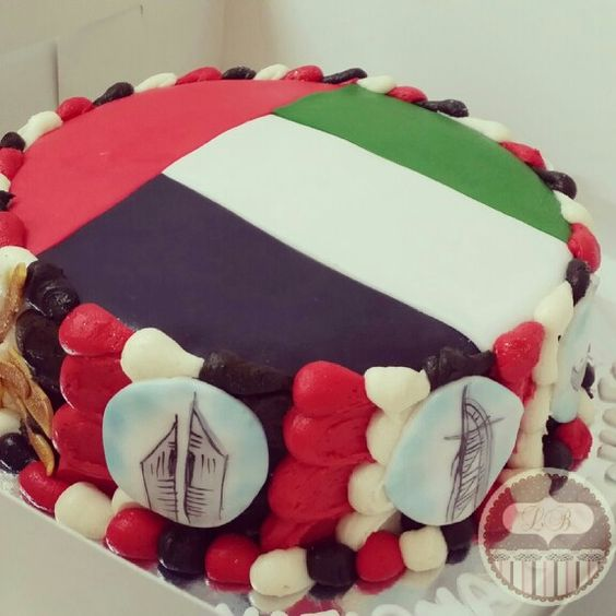UAE flag cake with hand painted edible pictures for ...