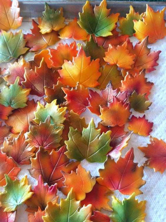 Fall Maple Leaves Cake Decorations that are edible....a great add to your cakes or cupcakes....hand made, airbrushed with edible paint, and dusted with edible gold to add a little shine to them.