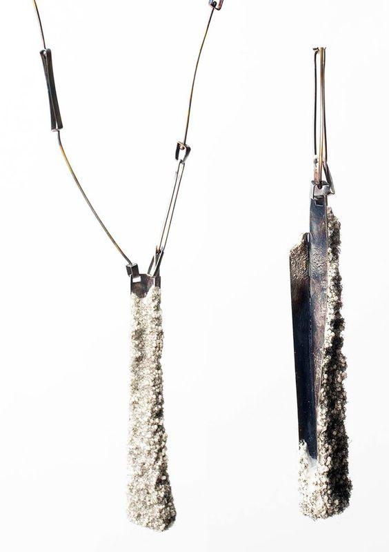 Athens Jewelry Week  -   IRO KASKANI    Rook 2 Pendant Silver, jesmonite, sponge  #Athensjewelryweek #2016 #AJW #IroKaskani Iro Kaskani: