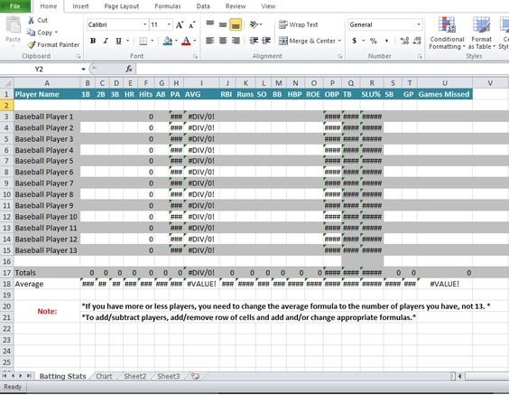 Baseball stats spreadsheet excel template Sports Excel Templates - baseball roster template