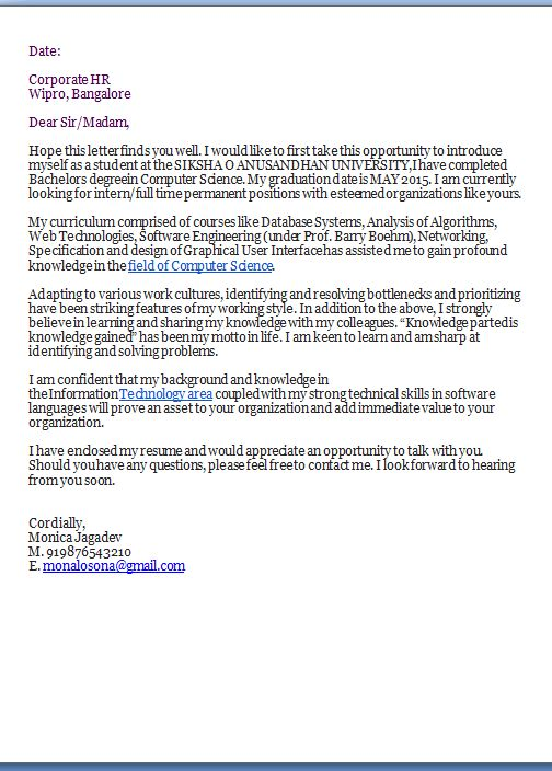 fax cover letter template Sample Template Example ofExcellent - wipro resume format
