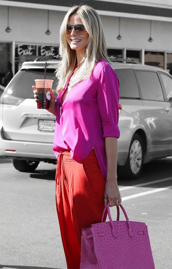 heidi klum fuchsia pink and red casual outfit