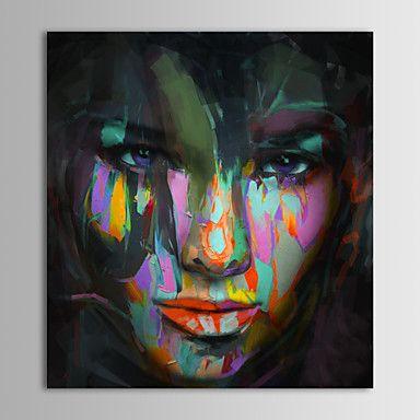 pintados à mão pintura a óleo do retrato de pessoas lona de arte pop com moldura esticada – BRL R$ 164,58
