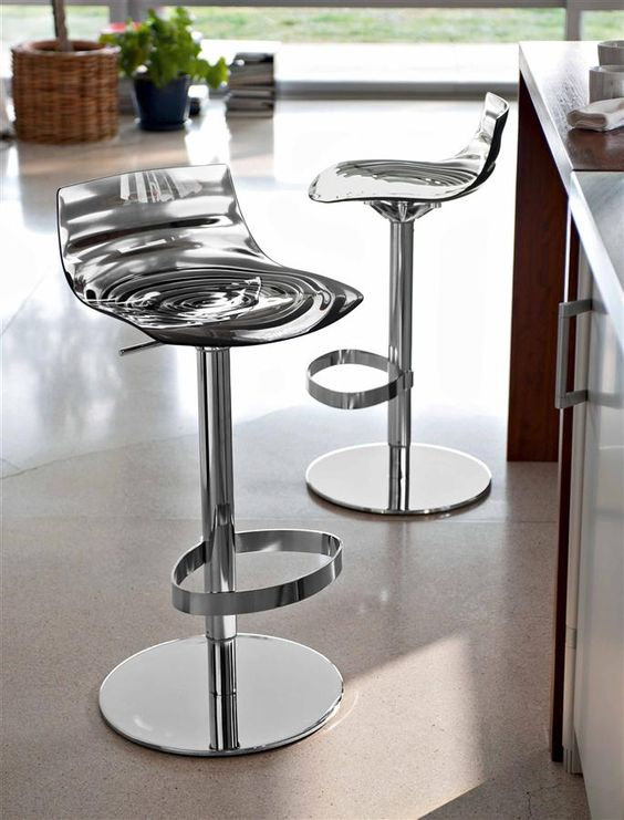 Height adjustable #stools with wave pattern by #Calligaris