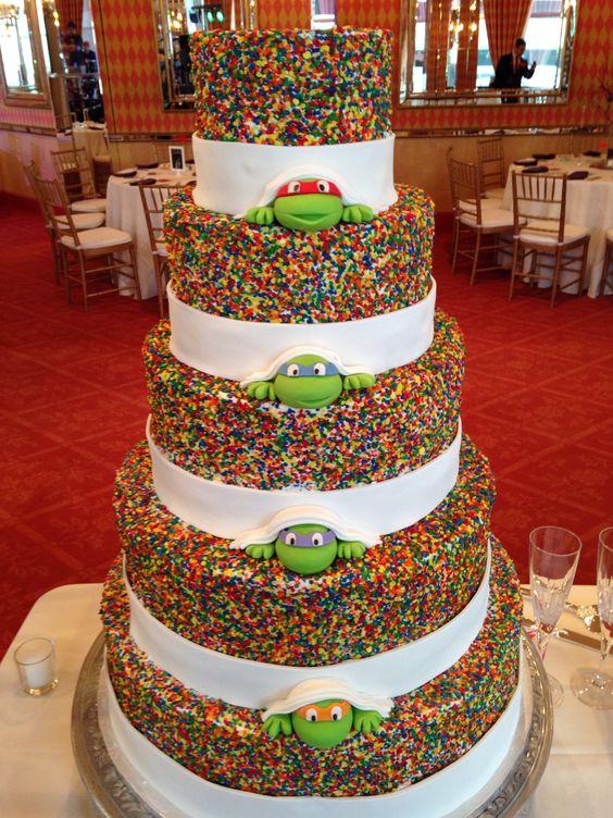 Our Ninja Turtle sprinkle wedding cake. Cake by The Cake Guys, Ninja Turtle from SweetTreatsByJess http://www.etsy.com/shop/SweetTreatsbyJess