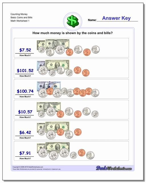 Free Counting Coins Worksheets Fresh Money Free Counting Worksheets Basic Coins And Bills V1 Money Math Worksheets Money Worksheets Money Math