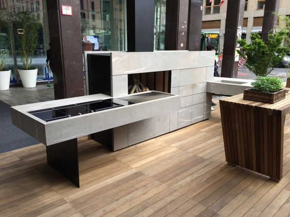 Preview shots of the outdoor kitchen concept presented in Milan by