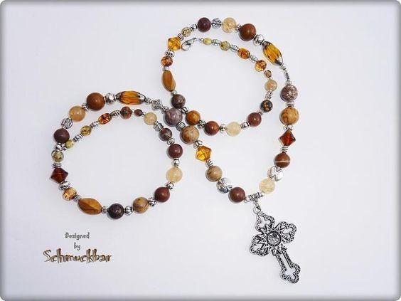 Achat - ACHAT-JASPIS-RHODONIT-u.a. Edelstein-Collier+Kreuz - ein Designerstück von Miss-AraBeeXX bei DaWanda