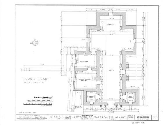 Mission San Antonio De Valero San Antonio Tx This Is The Floor Plan Of The Mission Produced By The Historical Alamo Mission Projects Downtown San Antonio