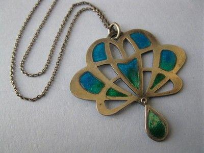 Antique Art Nouveau Peacock Enamel Sterling Silver Jugendstil Pendant Necklace