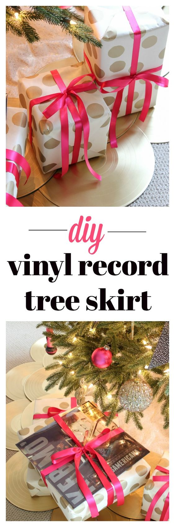 This is a great Christmas decorating idea for music lovers! Very easy and you don't even have to paint the records if you don't want to! DIY Vinyl Record Tree Skirt