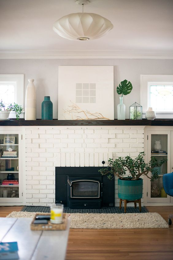 Home Wood Mantels Mantles White Brick Fireplaces Mantels Bricks