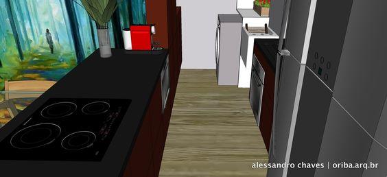 Apto São Paulo | Cozinha 4. Pedras pretas + Móveis Goiaba.