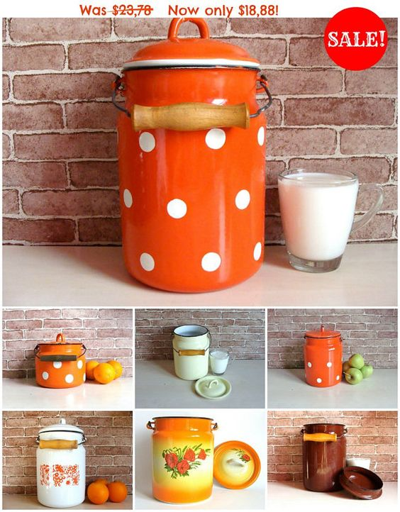 Soviet Vintage Milk Can Milk Pail Orange Polka by 888VintageShoppe