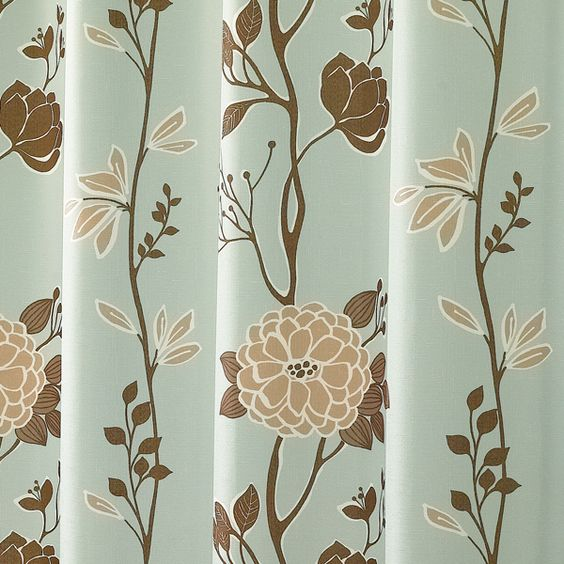 Modern Shower Curtain - Cassandra Blue and Brown Floral Fabric ...