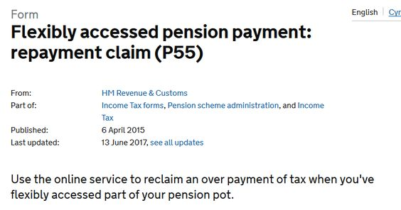 Flexibly accessed pension payment repayment claim (P55) GOVUK - pension service claim form