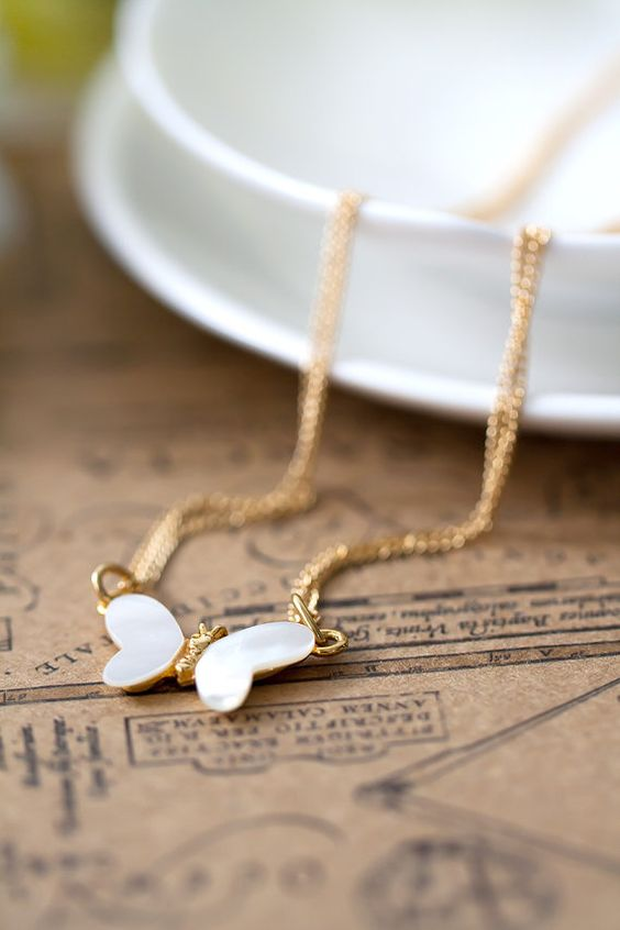 Butterfly Pendant Necklace Mother of Pearl Simple by MeMadeJewels