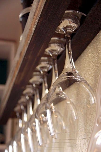 Wall Shelves & Wine Glasses--a use for all the extra wine & martini glasses I just boxed up
