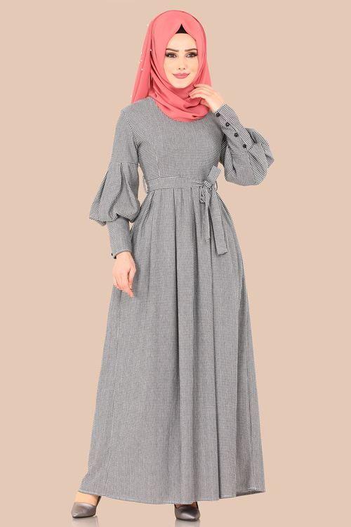 Modaselvim Elbise Balon Kol Pileli Elbise Kprs6825 Siyah Elbise Islami Giyim Elbise Modelleri