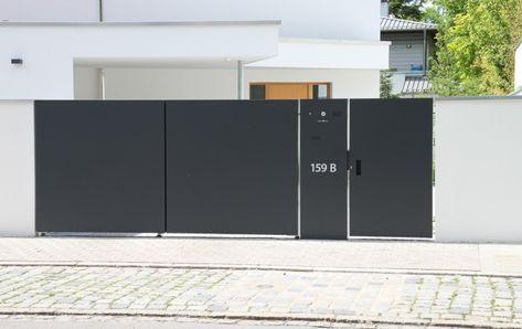 Gartentoranlage Kmit Schlissanlage Und Mulleinhausungen In 2020 Moderne Tore Gartenturen Haus Architektur
