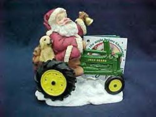 Santa on john deere tractor figurine americas favorite collectiondescription:santa on john deere tractor nib. Santa on john deere tractor description: this adorable figure is made by enesco for their america's favorites collection. It is an official licensed product of john deere. The figure stands 4 tall. This is new in the box. Please check out our store..lots of items listed there, and you never know what you will find.thanks for looking. If you don't check the store you might be missing…