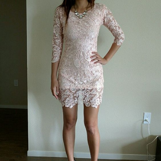 Romantic lace dress - powder pink Intricate lace dress in light pink color. Very romantic. Perfect to wear to garden party, spring or summer wedding, or wine tasting occasion.   Fits extra small and fits small bust. The lace is high quality and is NOT stretchy. Zipper on the side to open as on the last picture I posted. Boutique  Dresses Long Sleeve