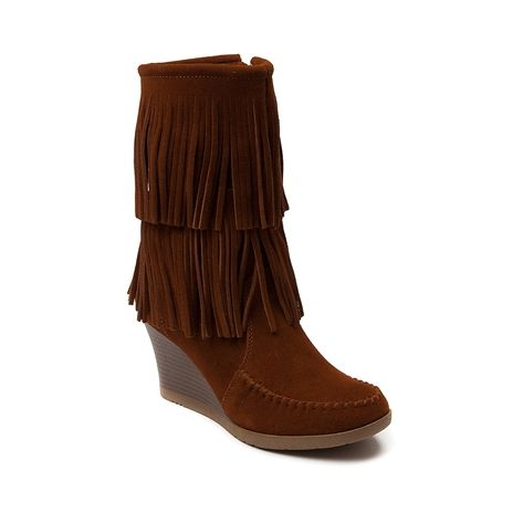 Shop for Womens Minnetonka Double Fringe Wedge in Chestnut at Shi ...