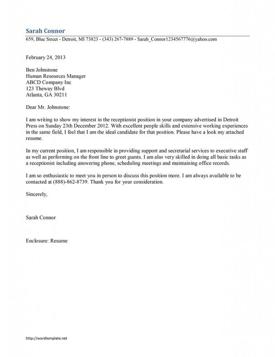 Receptionist Cover Letter Example - Executive work Pinterest