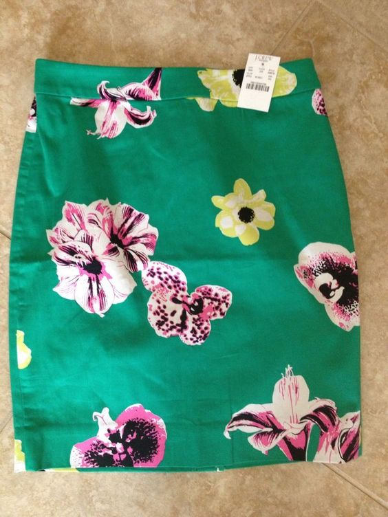 J Crew Factory Punk Floral Pencil Skirt Green 0 $85 | eBay