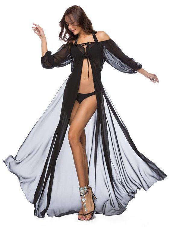One-shoulder mesh gauze seaside holiday chiffon dress