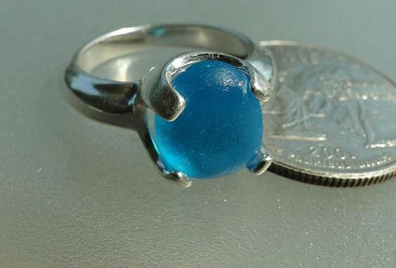 Solid Sterling Silver End of Day Turquoise Sea Glass by HLSEAGLASS, $175.00