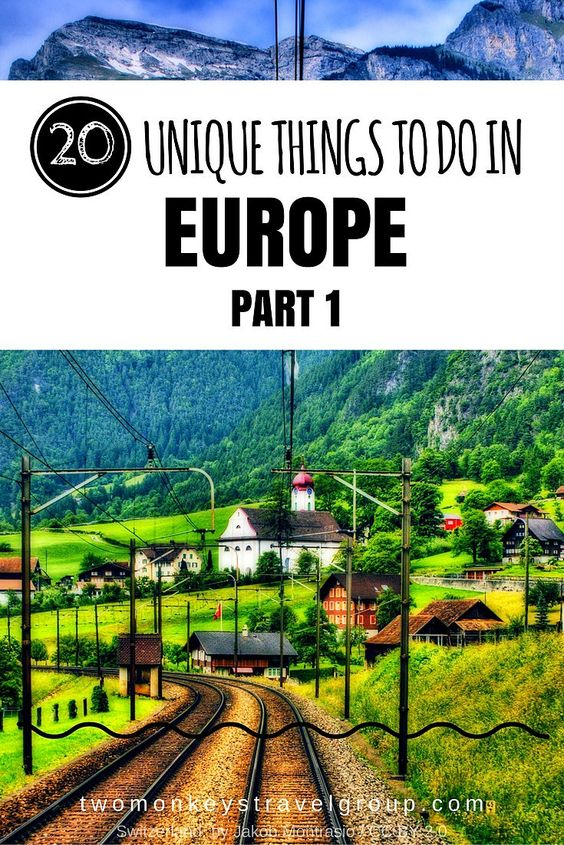 20 Unique Things to Do in Europe – Part 1  Europe might be popular for its rich culture and big diversity of people. Travelers could be planning to see the most popular destinations of each country or visit the thousand years of history attractions or they are simply curious what this fascinating continent can show off to the rest of the world.