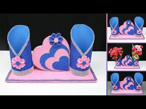 Beautiful Home Decoration Idea With Foam Sheet And Cardboard Home Decorating Ideas Handmade Youtube Foam Sheets Flower Diy Crafts Diwali Decoration Items