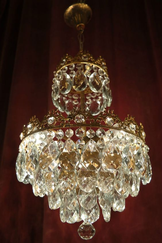 Antique Vıntage French Basket Style Crystal Chandelier Lamp 1940s.12in in Antiques, Home, Furniture & DIY | eBay