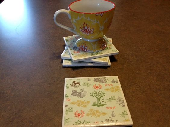 vintage nature friends coasters  set of 4 by twocraftybs on Etsy, $12.00