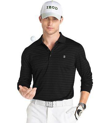 Izod Golf UPF Performance Textured Stripe Long Sleeve Polo