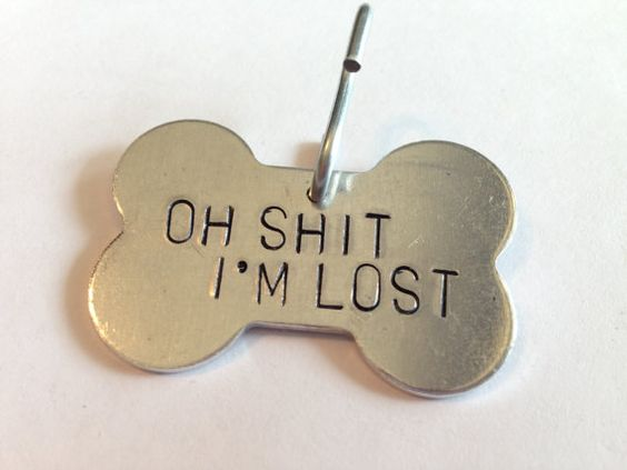 "Pet ID Tag -  ""Oh SHIT, I'M LOST""  - Extra Large bone shape - with your pet's name and your phone number on the back. on Etsy, $20.00:"