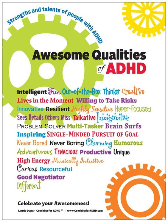 Order your Awesome Qualities of ADHD poster today! Makes a great gift for yourself or a loved one with #ADHD. Only $15.95!: