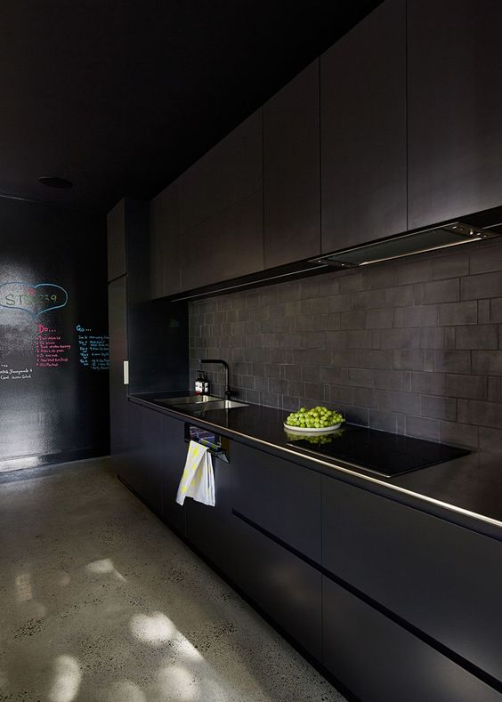 11 Ways To Introduce Black Into Your Kitchen // Add a black backsplash.